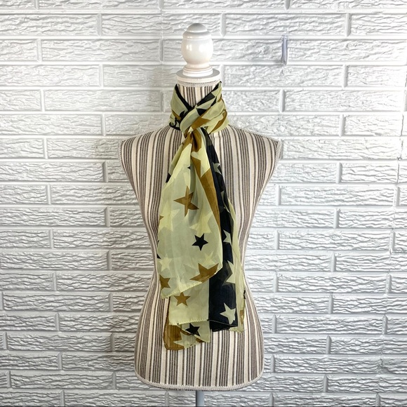 5/$25 Sheer Striped Scarf Stars Pattern
